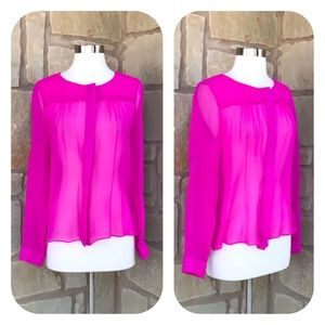Aryn K. Hot Pink Semi-Sheer Tab Sleeve Silk Top XS